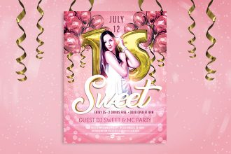 Free Sweet 16 Flyer in PSD