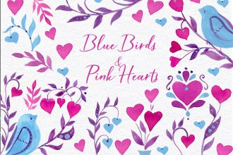 Free Blue Birds and Pink Hearts