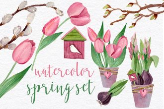 Free Spring Set Watercolor