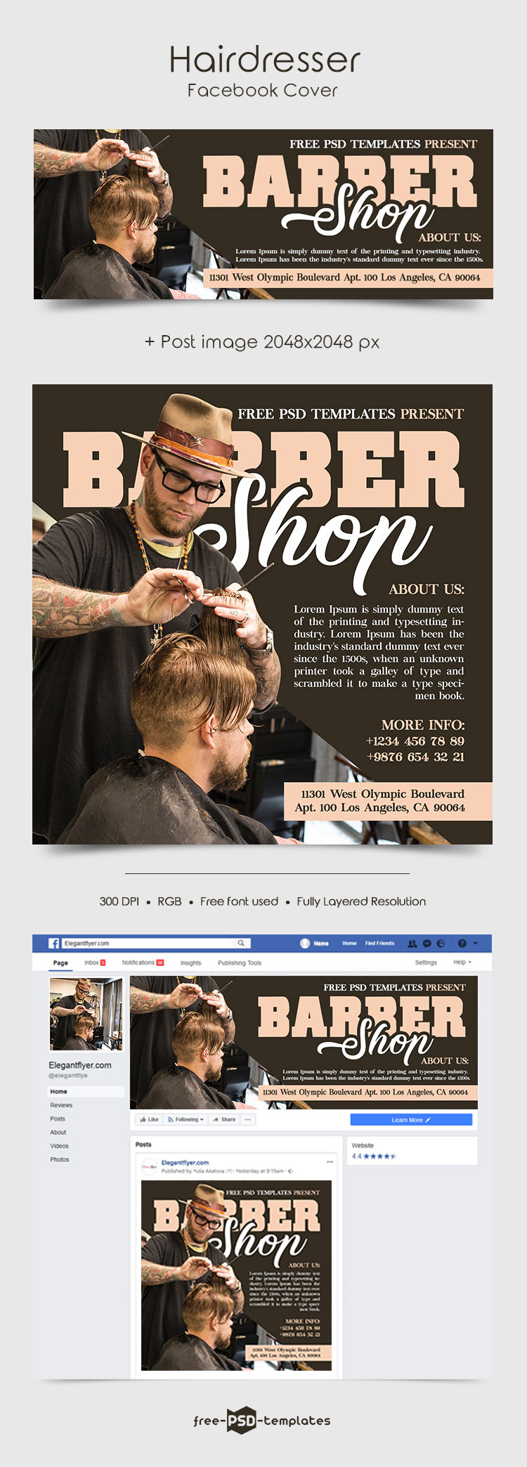 Free Hairdresser Facebook Cover | Free PSD Templates