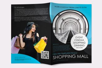 Free Shopping Mall Bi-Fold Brochure in PSD