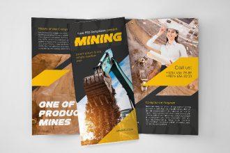 Free Mining Tri-Fold Brochure in PSD