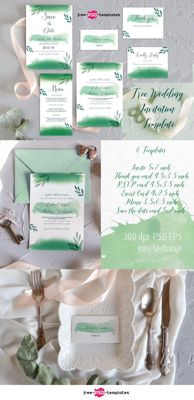 Free Wedding Invitation Template Green