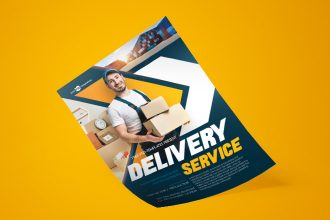 Free Delivery Service Flyer in PSD