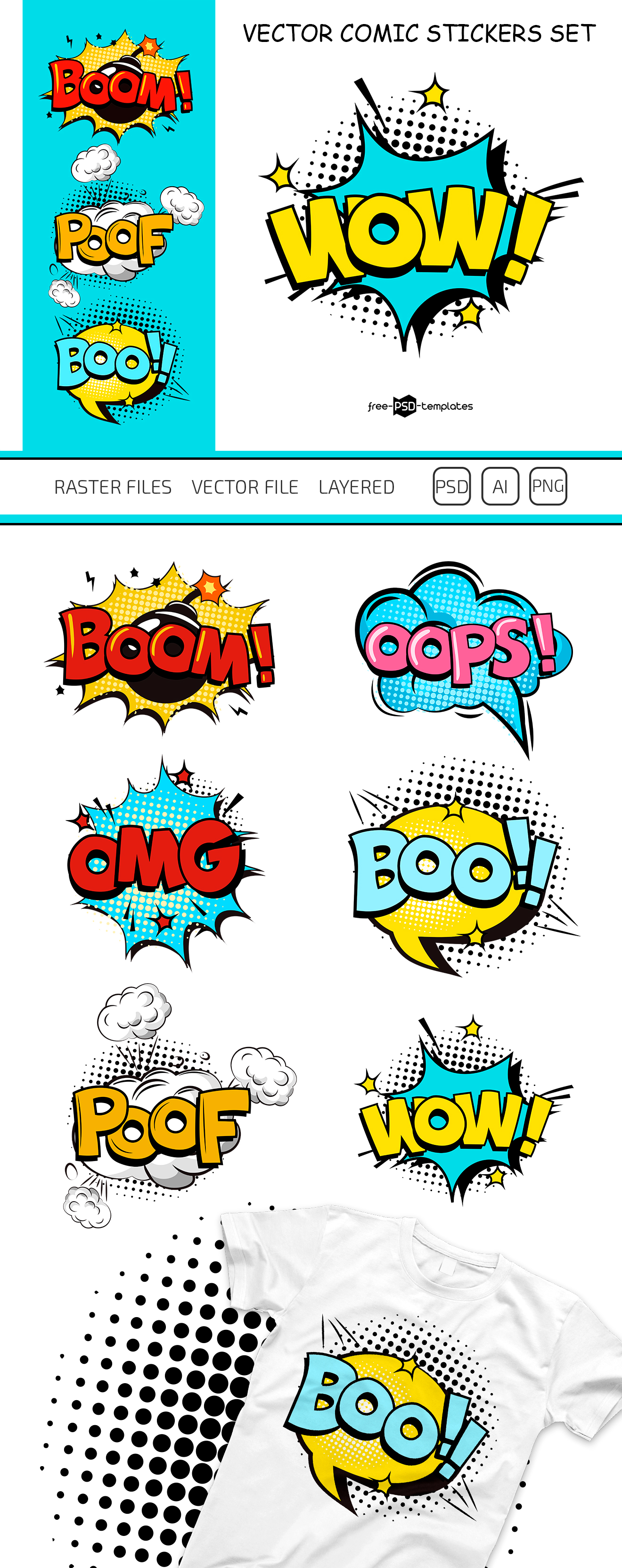 Free Vector Comic Stickers Set | Free PSD Templates