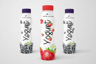 3 Free Yogurt Bottle Mockups