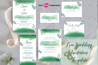 Free Wedding  Invitation Template Green