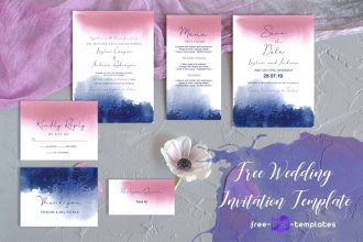 Free Wedding Watercolor Blur Invitation