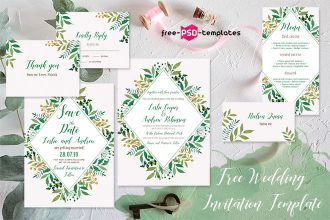 Free Wedding Watercolor Leaves Invitation