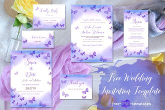 Free Wedding Watercolor Violet Invitation