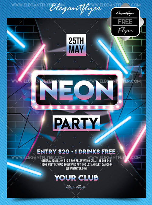 25 Premium and Free Neon Templates & Graphics to Make Your