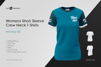 Womens Crew Neck T-Shirts MockUp Set