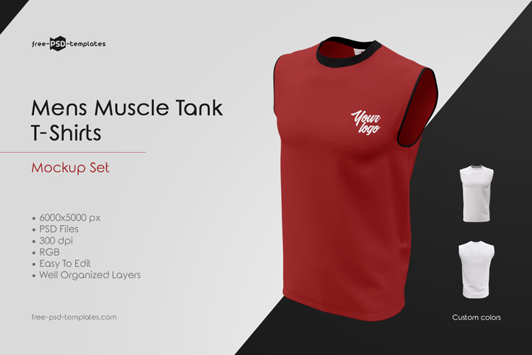 3a65c367 These Mens Muscle Tank T-Shirts MockUp Set can be good for implementing a  lot of designers ideas as well. Enjoy these mockups from Free-PSD-Templates  and ...