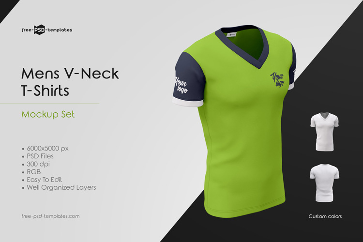 Mens V Neck T Shirts Mockup Set Free Psd Templates