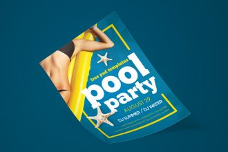 Free Pool Party Flyer in PSD
