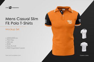 Mens Casual Polo T-Shirts MockUp Set