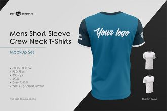 Mens Crew Neck T-Shirts MockUp Set