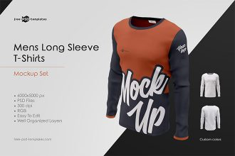 Mens Long Sleeve T-Shirts MockUp Set