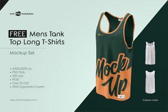Free Mens Tank Top Long T-Shirts MockUp