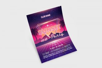 Free Sunset Party Flyer in PSD