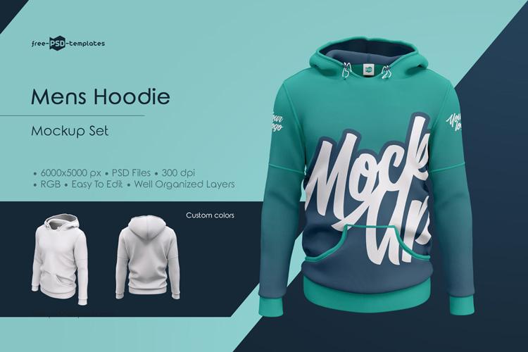 Download Mens Hoodie MockUp Set | Free PSD Templates