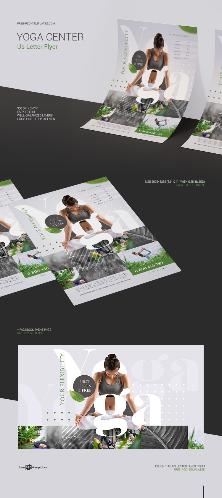 Free Yoga Center Flyer In Psd Free Psd Templates
