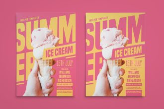 Free Summer Ice Cream Flyer in PSD