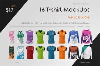 16 T-shirt MockUps Mega Bundle
