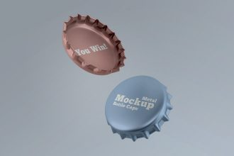 2 Free Metal Bottle Caps Mock-ups in PSD