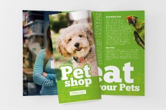 Free Pet Shop Tri-Fold Brochure in PSD