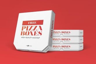 Free Pizza Boxes Mock-up in PSD