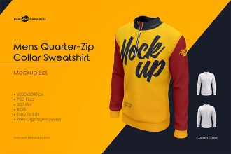 Mens Quarter-Zip Collar Sweatshirt MockUp Set