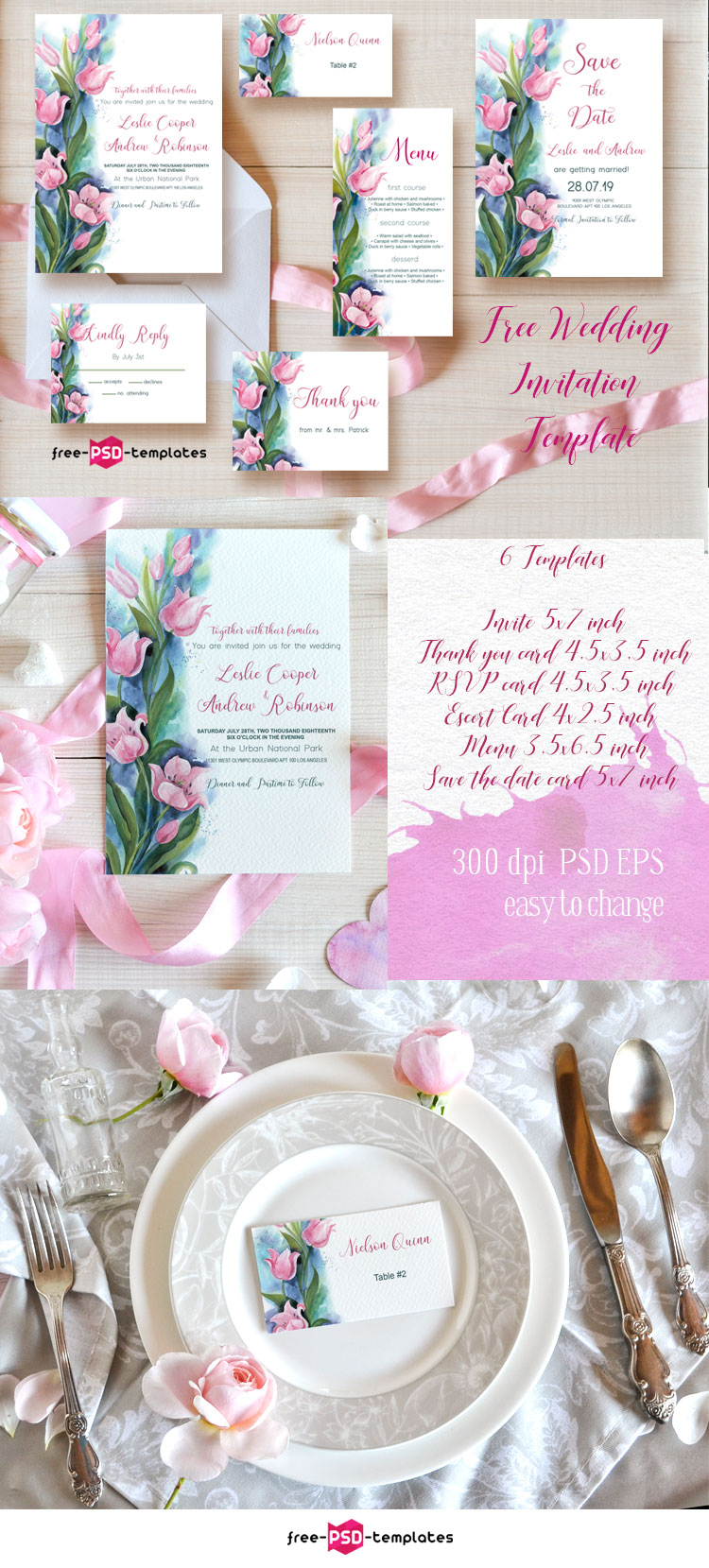 Free Wedding Invitation Template Tulips | Free PSD Templates