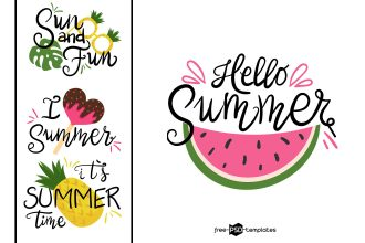6 Free Hand Drawn Summer Lettering