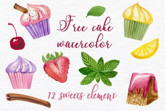 Free Cake Watercolor