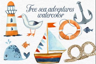 Free Sea Adventures Watercolor