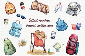 Free Watercolor Travel Collection