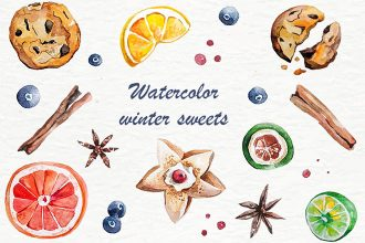 Free Watercolor Winter Sweets Collection