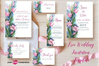 Free Wedding Invitation Template Tulips