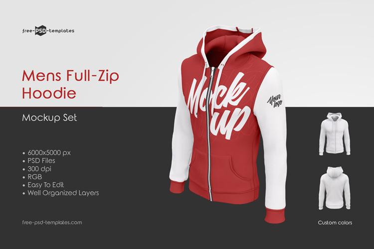 Mens Full Zip Hoodie MockUp Set | Free PSD Templates