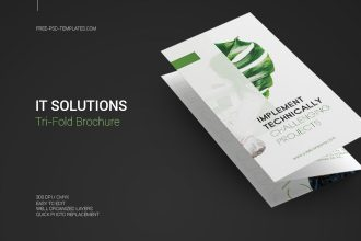 Free IT Solutions Tri-Fold Brochure in PSD