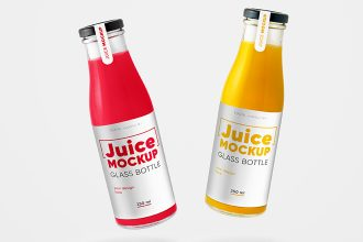 Free Glass Juice Bottle Mockup Set