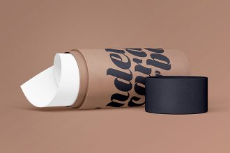 2 Free Cylinder Cardboard Box Mock-ups in PSD