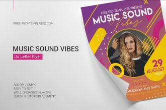 Free Music Sound Vibes Flyer in PSD