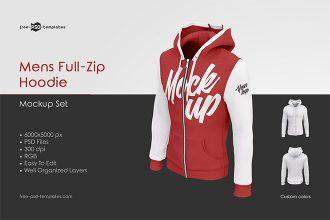 Mens Full-Zip Hoodie MockUp Set