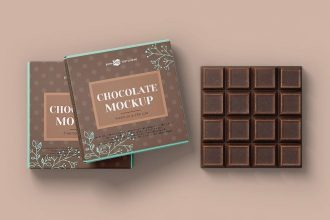 Free PSD Bar of Chocolate Mockup Template