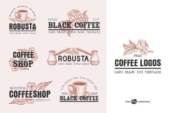 Free Vector Coffee Logo Set Template