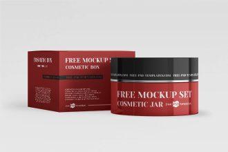 Free Cosmetic Jars PSD Mockup