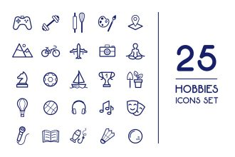 Free Vector Hobbies Icons Set Template