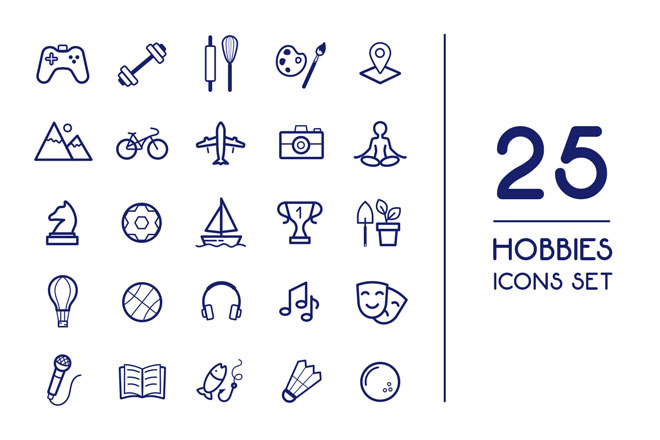 Free Vector Hobbies Icons Set Template Free Psd Templates